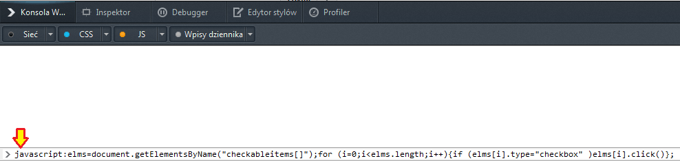 Konsola Firefox